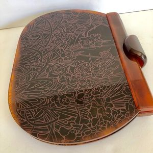 Vintage Brown tortoise Etched Lucite Clutch Purse